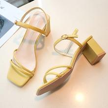 2019 New Yellow Green Ankle Strap Sandals Women Shoes Elegant Dress Wedding Women Sandals Chunky Heel Slippers sandalias mujer elegant women s pumps with chunky heel and ankle strap design