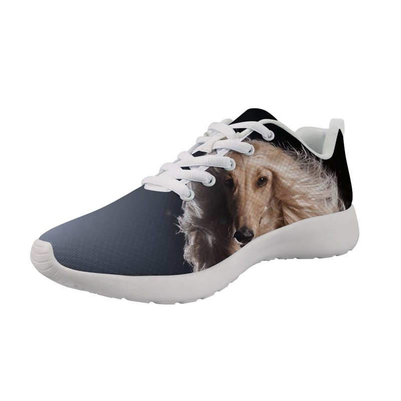 Female shoes Explosion models Fashion Afghan Hound print Lightweight cushioning 2021 Spring running Breathable shoes sneakers