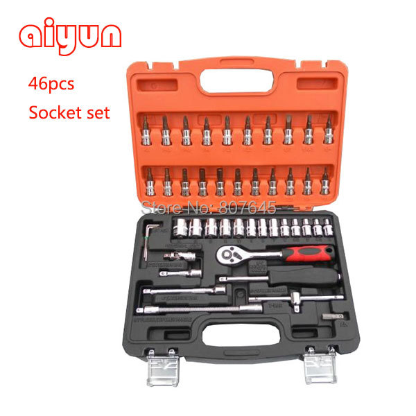 46pcs socket set 1/4 car repair tools ratchet wrench spanner set hand tools combination bits set screwdriver tool kit CRV S2 free ship 44pcs set chrome vanadium steel amphibious socket wrench set spanner car ship machine repair service tools kit