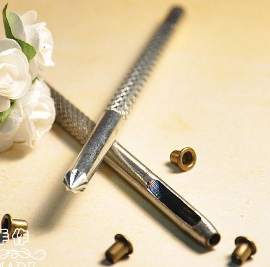 Suitable for Inner Diameter 1mm 1.5mm 2mm Metal Garments Scrapbook Eyelet Installation tools: 1 punching tool + 1 flowering tool