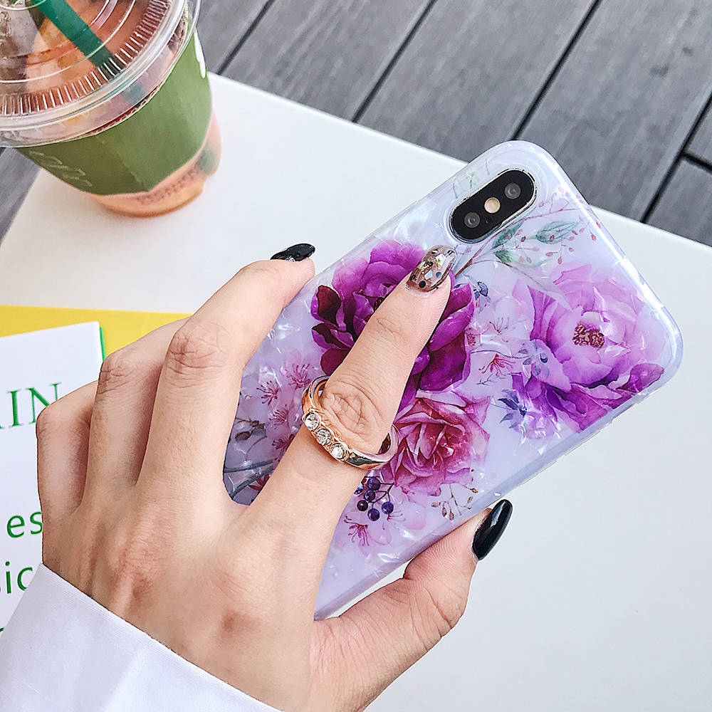 LOVECOM Retro Floral Ring Stand Phone Case For iPhone Models 40