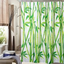 Happy Tree Fabric Polyester Green Bamboo Shower Curtain Waterproof Bathroom Curtain Plants Bath Curtain Size 180x180cm 180x200cm(China)