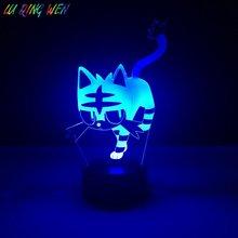 Kid Led Night Lamp Litten Pokemon Go Fire Cat Nightlight for Childrens Bedroom Decor Light Holiday Gift Baby 3d