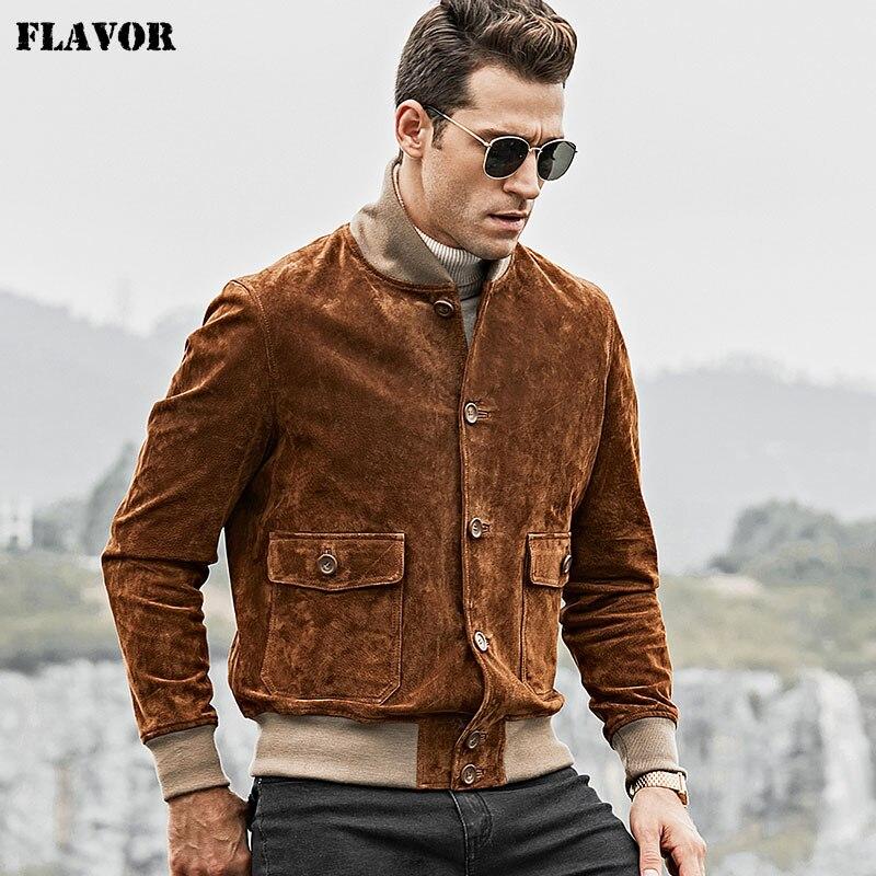 FLAVOR 남성용 진짜 가죽 자켓 남성 리브 커프 스탠딩 칼라가있는 정품 피그 가죽 가죽 코트-에서진짜가죽 코트부터 남성 의류 의  그룹 1
