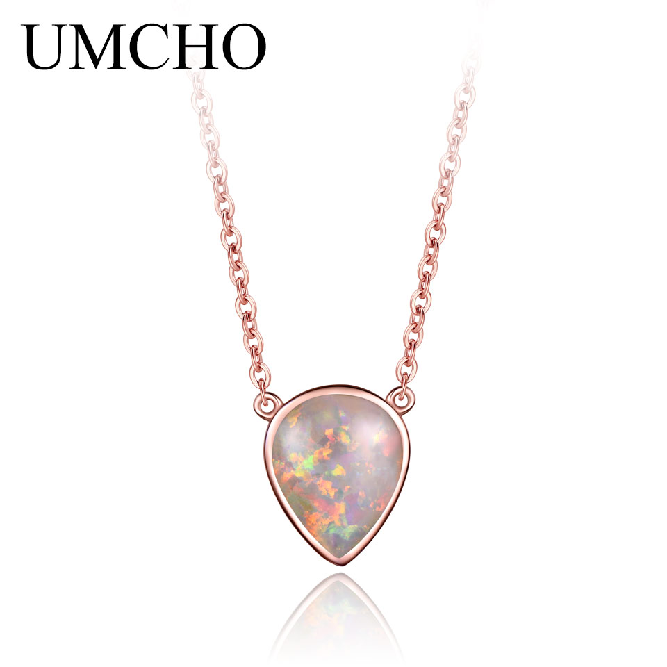 925 Sterling Silver Drop Opal Chain Necklaces Female Classic October Birthstone Necklace For Women Party Gift Fine Jewelry