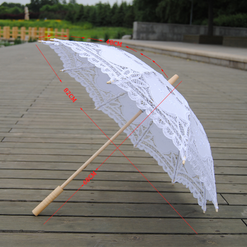 QUNYINGXIU 2017 Exquisite White Umbrella Elegant Wood Craft Lace Classcial Style Handmade Long-handle Asia style Umbrella