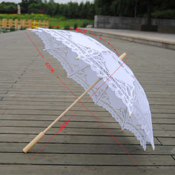 QUNYINGXIU 2019 Exquisite White Umbrella Elegant Wood Craft Lace Classcial Style Handmade Long-handle Asia style Umbrella - DISCOUNT ITEM  45% OFF All Category
