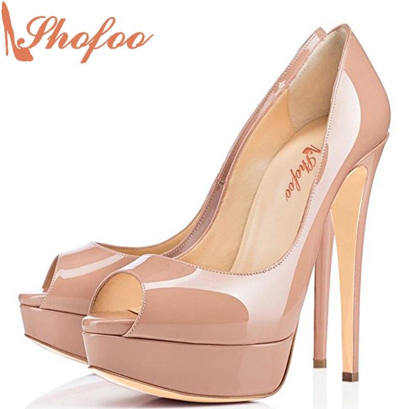 ФОТО Shofoo Women Fashion 12cm High Heels Peep Toe 3cm Platform Stiletto Dress&Party&Wedding Slip-on Shoes ,Large  Size 4-16.