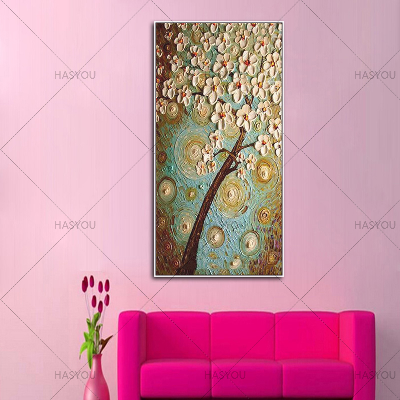 handpainted flower Oil Painting on Canvas kinfe flower oil painting Wall Art picture for bedroom living room Home Decoration in Painting Calligraphy from Home Garden