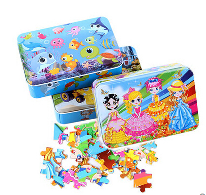 Cartoon animal wooden puzzle 100pcs for kids board game wood toy with metal box early educational toy baby Children DIY assembly
