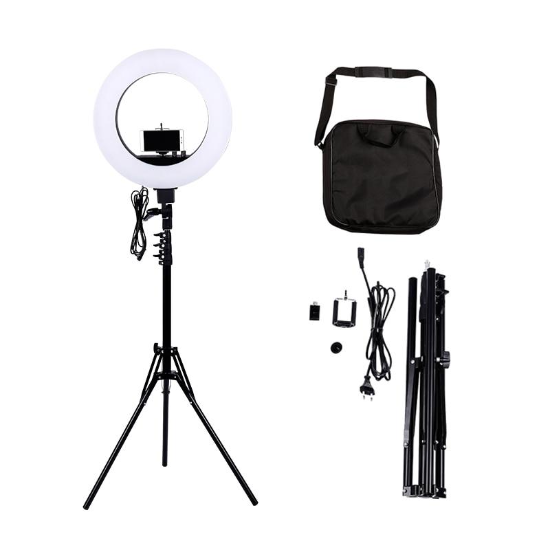 Câmera foto estúdio telefone vídeo 18 polegada 55 w 480 pces led anel luz 5500 k fotografia regulável anel lâmpada com 180 cm tripé