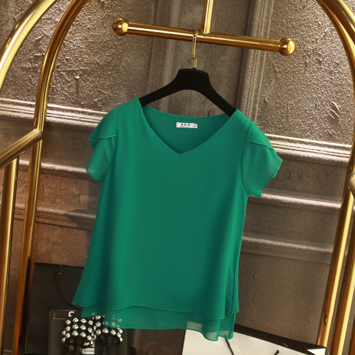 100% Original Women Chiffon Shirt 2019 Summer Short sleeve V-neck Blouse Casual 9 Solid color Loose Oversized Lady Tops 13