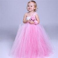 Rosa Tutu di Tulle Del Bambino Damigella D'onore Flower Girl Wedding Dress Fluffy Principessa Ball Gown Birthday Panno di Promenade di Sera Party Dress
