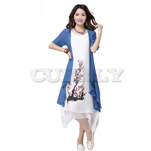 CUERLY 2019 New summer dress women clothing Small fresh long Fake two pieces Dress loose big Size Elbise Robe M-4XL