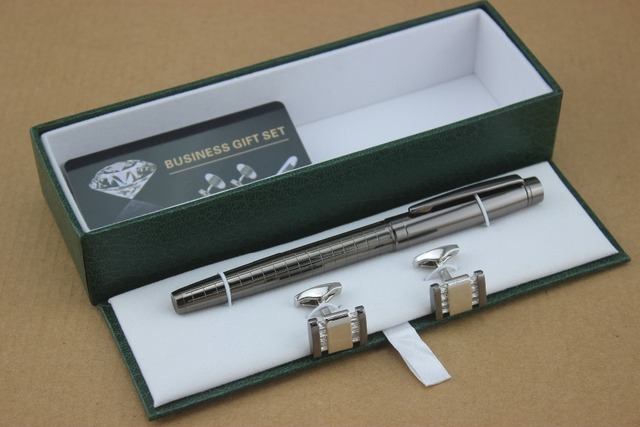 Luxury Metal Gray Grid Roller Ball Pen And Cufflinks Stationery Executive Office Supplies Writing Pens
