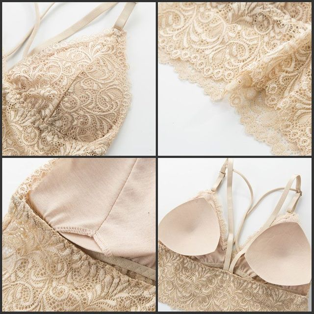 2019 Women Lace Bra Set Sexy Push Up Padded Lace Bras and Brief Set 5