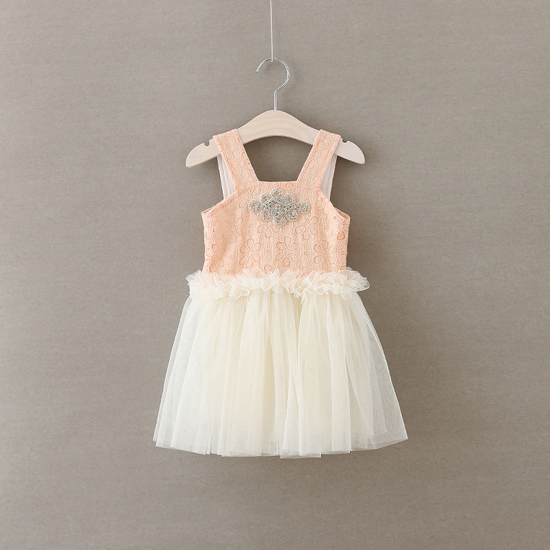 Girls Princess Party Dress Summer Diamond Fashion Girls Pink Lace Sleeveless Tulle Dress Elegant Cute Chiffon Girl Dresses 2016 new girls clothes 100% cotton cute pink gray lace dress for the girl princess dress art bowknot sleeveless dress