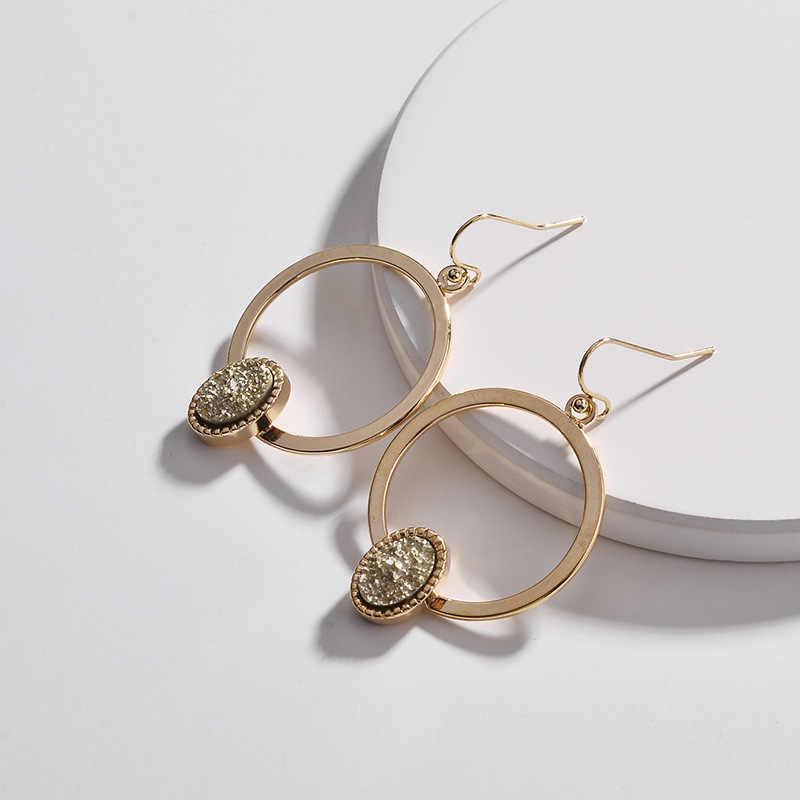Druzy drusyブラブライヤリングゴールド幾何サークルオーバルドルーゼンのイヤリング女性のためのデザイナージュエリー