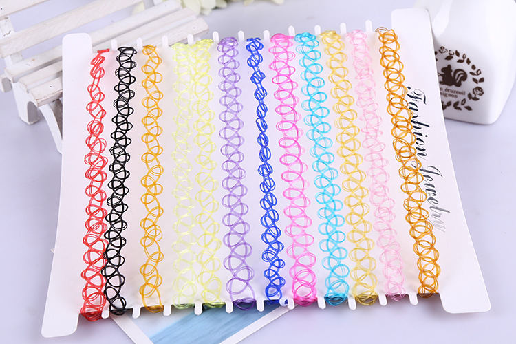 (12PCS/lot)  Tattoo Style Stretchy Chokers
