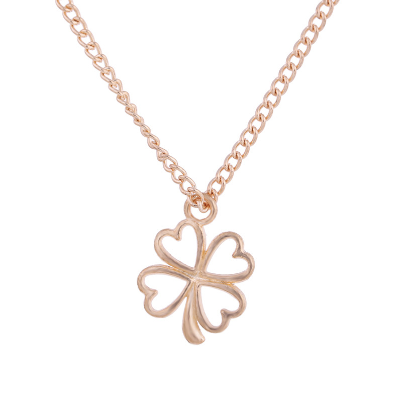 Golden Plated Clover Wish Love Alloy Clavicular Bones Pendant Short Chocker Necklace 2