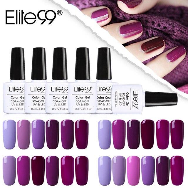 Elite99 10 ml Nail art Design Maniküre Lila Farbe 10 ml Tränken Weg Von Emaille Gel Polnisch LED UV Gel Nagel polnischen Lack 6 teile/los