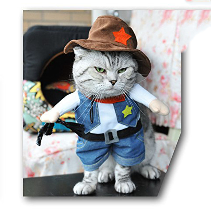 pet outfit pet dog cat cowboy costume stylish pet halloween clothing