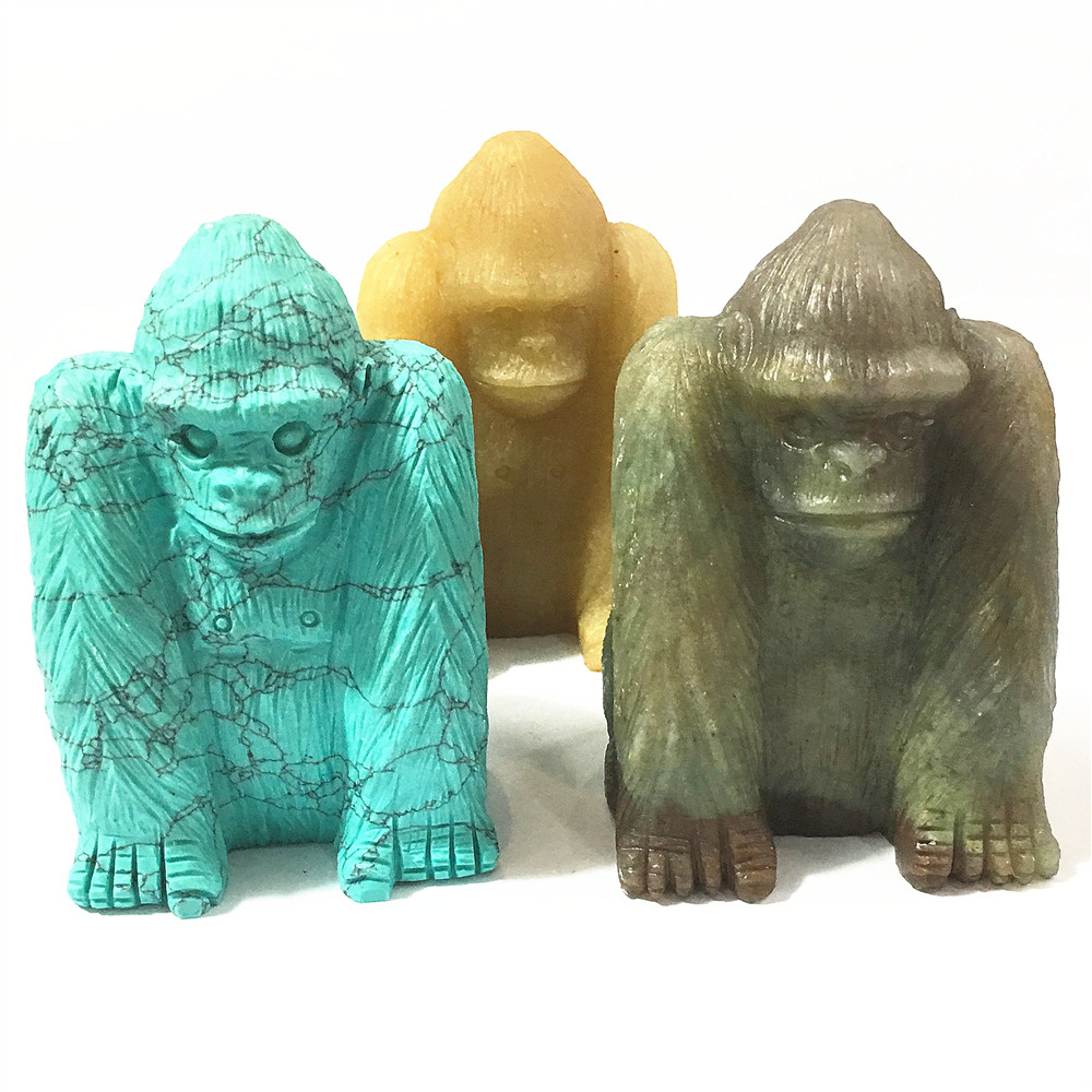 2018 Agates Turquoises Orangutan Natural Stone Carved 3.0inch Figurine Chakra Bead Healing Crystal Reiki Feng Shui Free Shipping free shipping 15 china bronze sculpture carved feng shui copper beautiful sika deer statue