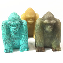 2018 Agates Turquoises Orangutan Natural Stone Carved 3.0inch Figurine Chakra Bead Healing Crystal Reiki Feng Shui Free Shipping