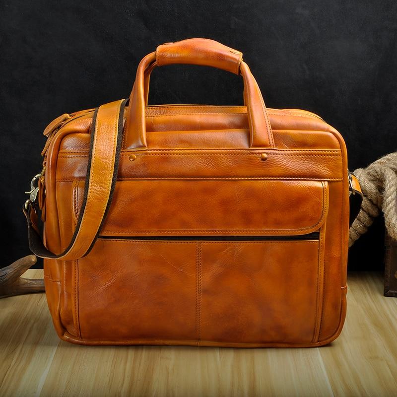 HTB1gerABZuYBuNkSmRyq6AA3pXaR Men Oil Waxy Leather Antique Design Business Briefcase Laptop Document Case Fashion Attache Messenger Bag Tote Portfolio 7146