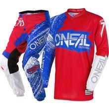 NOVA Oneal 2018 Elemento de Burnout Azul Branco Vermelho Jersey Calças De Corrida De Motocross MX ATV Conjunto de Engrenagens
