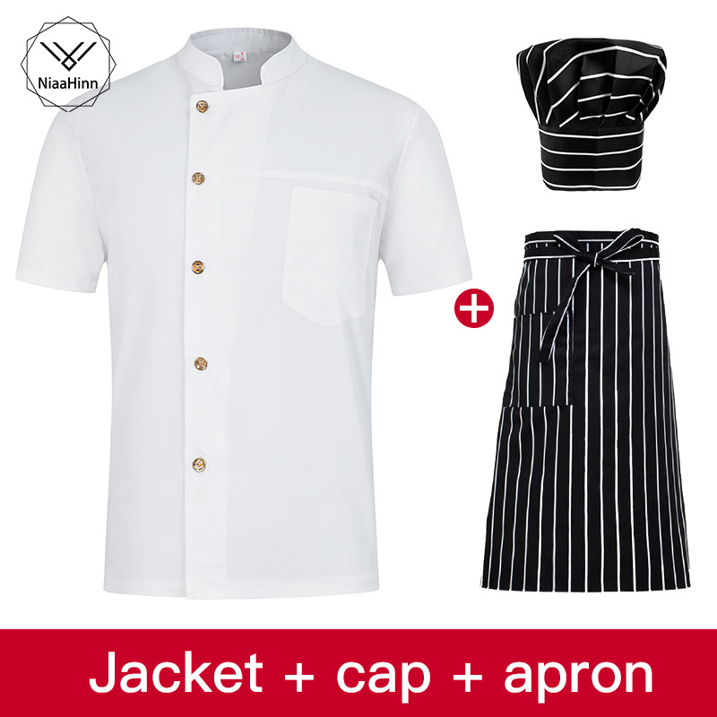White Short-sleeved Chef Jacket Hotel Restaurant Working Wear Work Clothes Uniform Chef Jackets+ Chef Hat+ Apron Sushi Costume
