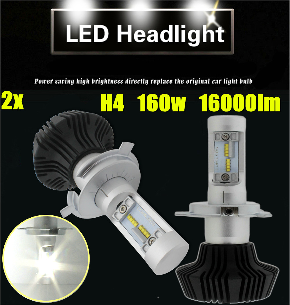 Lumileds H4 H13 9007 160W SET 8000LM LED Headlight Kit Brightness High Low Beam Bulbs 6000K