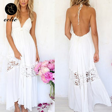 Lace Sleeveless Long Evening White Dress Empire Waist Sukienka Bare Back Dress Openwork Women Beach Dresses 2019 Robe Femme Ete(China)