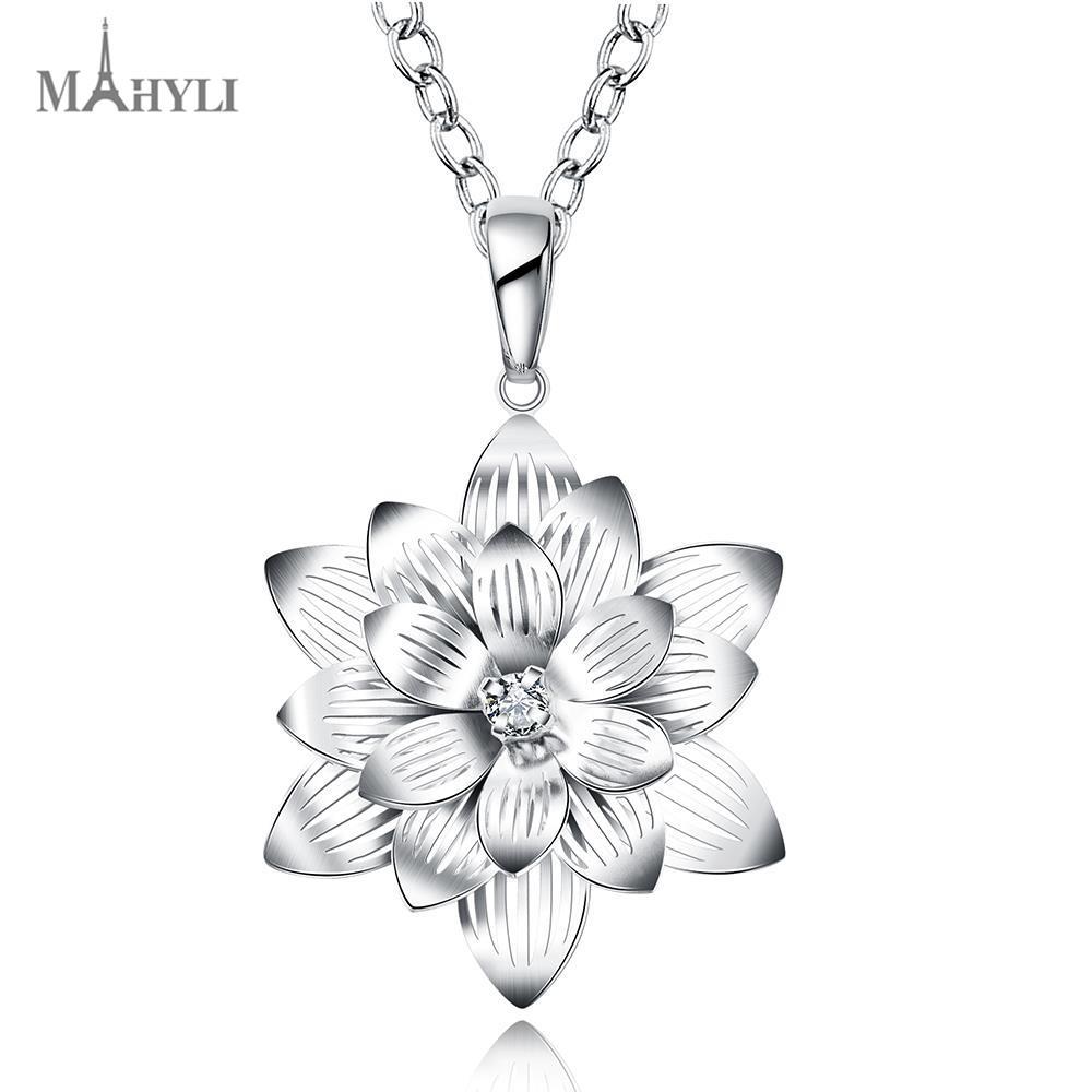 Mahyli 925 Silver Lotus Flower Pendant White Silver Choker Necklace