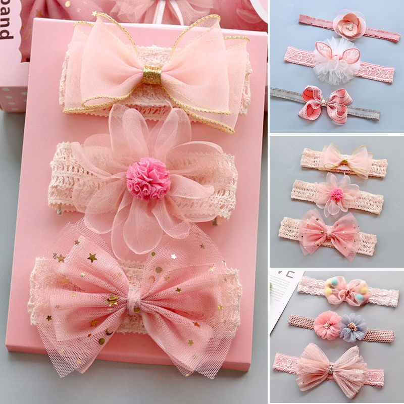3Pcs Lace Baby Girl Headbands Princess Bows Crown Kids Turban  Hairband Head Bands For Baby Girls Haarband Baby Hair Accessorie