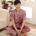 Los hombres de Verano Pijama de Satén de Seda Ropa de Dormir ropa de Dormir Pijamas Loungewear Pijama pijama Conjunto Traje de Manga Corta