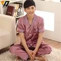 Men Summer Pajama Sets Silk Satin Nightwear Sleepwear Pajamas Loungewear Pajama Pyjamas Set Short Sleeve Suit