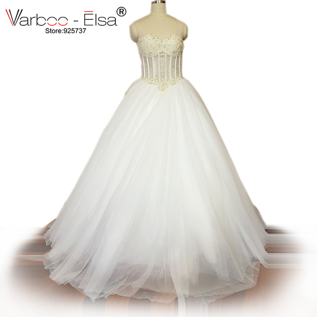Varboo Elsa Luxurious Bling Strapless Wedding Dress Corset Bodice Sheer Bridal Ball Crystal Pearl Bead Rhinestone Tulle
