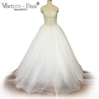 VARBOO_ELSA Luxurious Bling Strapless Wedding dress Corset Bodice Sheer Bridal Ball Crystal Pearl Bead Rhinestone Tulle Wedding