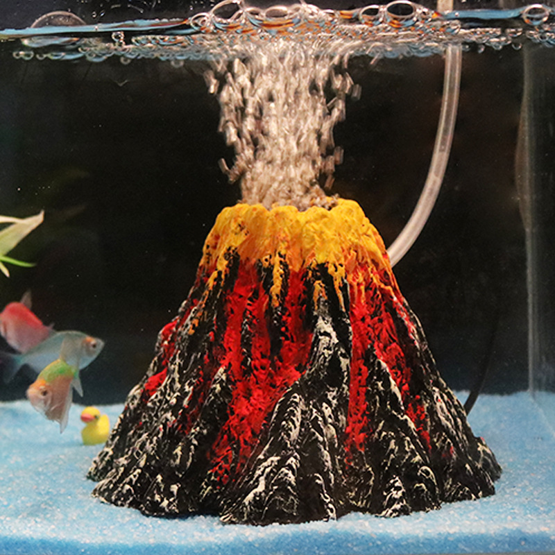 Volcano shape oxygen pump for fish tank decor artificial for Aquarium volcano decoration