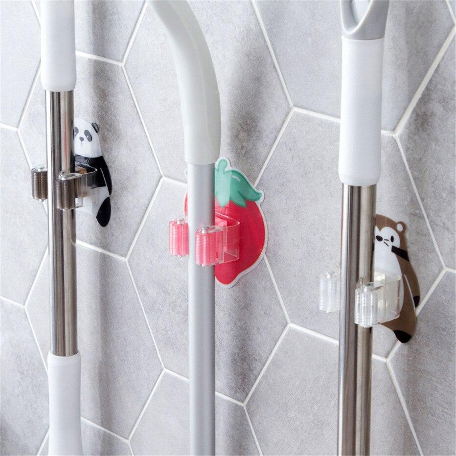 Mop Broom Holder Bathroom Tools Storage Rack Kitchen Organizer Wall Mounted Sticker Hook Umbrella Shelf Hanger1