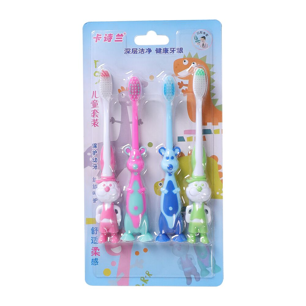Cartoon Animal kids Toothbrush with Soft Slim Tip Bristle Brush for kids oral care with anti-slip handle image