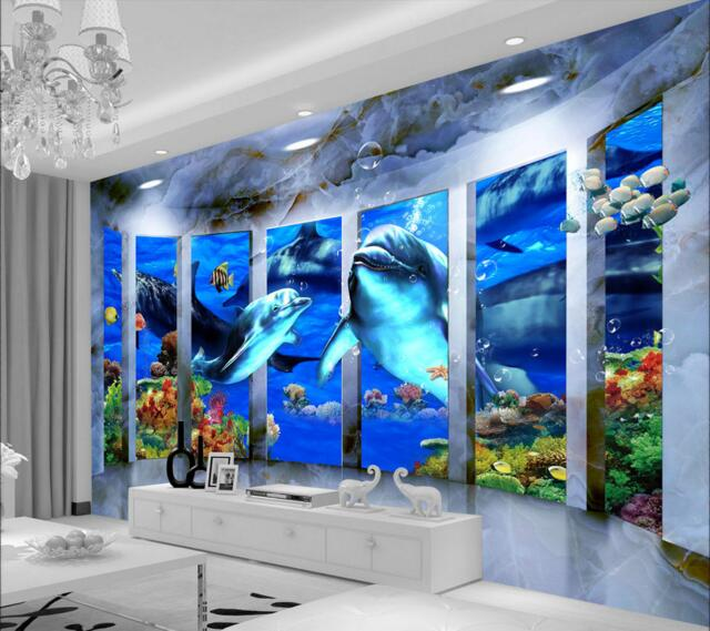 3d room wallpaper custom mural non-woven wall sticker 3 d space Marine dolphins mother and child photo 3d wall murals wallpaper wallpaper 3d murals planet space mural photo