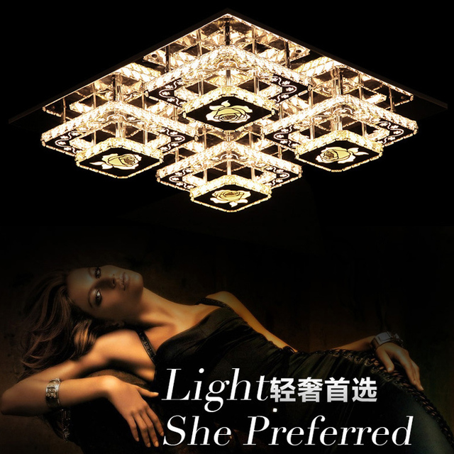 Ecolight Remote Control Modern Ceiling Light Led Crystal Stainless Steel 90 265V Flush Mount For