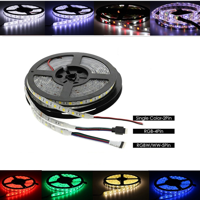 DC 5V 12V 24V LED Strip RGB PC Waterproof 5050 5M Flexible Led Strip Light RGB 5 12 24 V Tape Led Strip Lamp Tv Backlight Ribbon