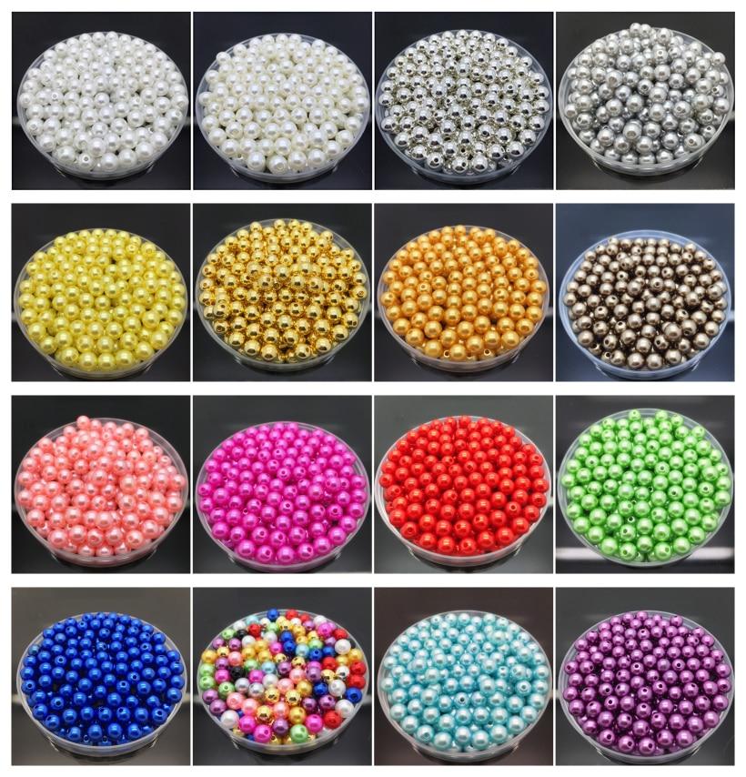 Оптовая продажа 6 мм 100 шт Акриловые круглые жемчужное кольцо свободные шарики ювелирное Костюмы бусинами изделия ремесла