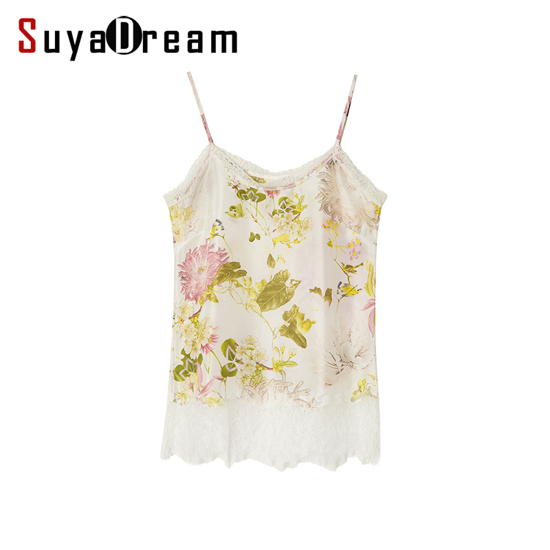 100%REAL SILK women Lace Camis Sexy Floral Print Camisole Silk Chiffon Summer   Tank     Top   femininas 2018