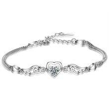 XIYANIKE 925 Sterling Silber Heißer Verkauf Für Frauen Glück Liebe Herz Angel wings Silber Armbänder Geschenk Hochzeit Schmuck Großhandel