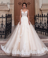 C V Luxury Lace Wedding Dress A Line Backless 2017 European Fashion Short Sleeve Wedding Gown