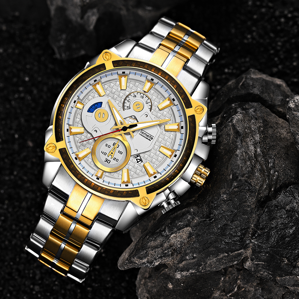Top Brand Luxury Golden Watches Men Stainless Steel Strap Fashion TEMEITE Waterproof Quartz Wristwatch Calendar Oversize Clock 18